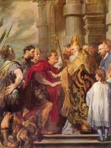 St. Ambrose Repulsing Emperor Theodosius from his Church